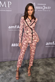 Joan Smalls' printed pink Dolce & Gabbana ensemble at the 2018 amfAR Gala New York was a sweet way to suit up!