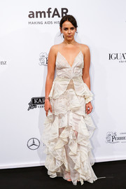 Pauline Ducruet looked festive and glam in a tiered white gown at the 2018 amfAR Gala Sao Paulo.