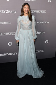 Gina Rodriguez looked romantic in a baby-blue lace-panel gown by Zuhair Murad at the 2019 Baby2Baby Gala.