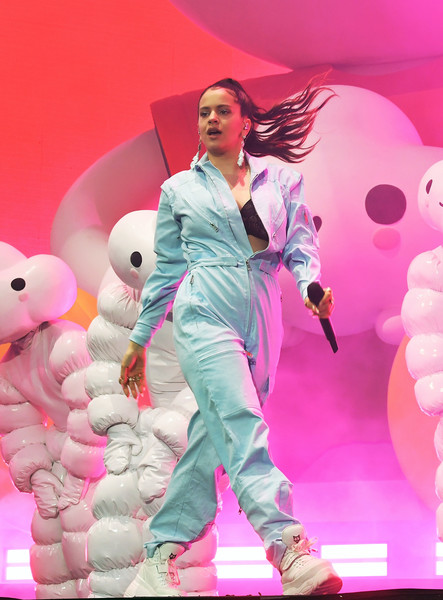 More Pics of Rosalía Jumpsuit (2 of 10) - Suits Lookbook - StyleBistro [pink,performance,fashion,stage,performing arts,magenta,event,fashion design,singer,costume,coachella stage,indio,california,coachella valley music and arts festival,j balvin,rosal\u00e3a]