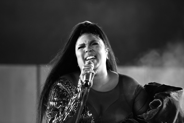 More Pics of Lizzo Jumpsuit (1 of 46) - Suits Lookbook - StyleBistro [image,black,white,black-and-white,monochrome,monochrome photography,singing,performance,singer,photography,human,lizzo,color version,indio,california,coachella valley music and arts festival,mojave tent]