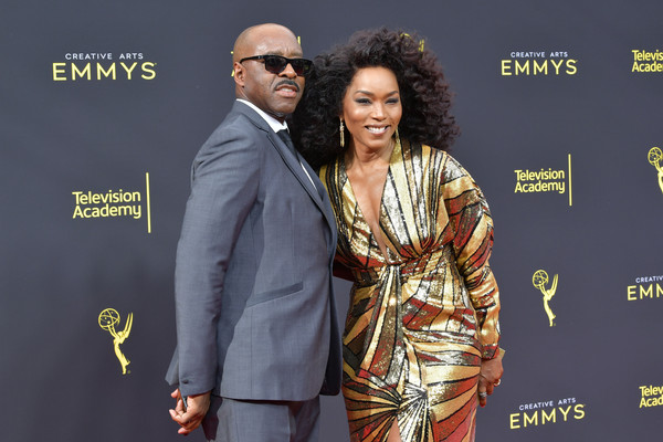 More Pics of Angela Bassett Box Clutch (1 of 13) - Clutches Lookbook - StyleBistro [award,event,award ceremony,carpet,suit,premiere,formal wear,red carpet,arrivals,angela bassett,courtney b. vance,creative arts emmy awards,los angeles,california]