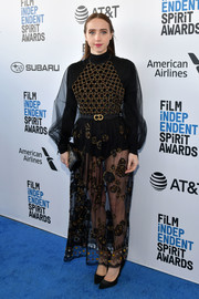 Zoe Kazan went daring in a sheer, embroidered black gown by Dior at the 2019 Film Independent Spirit Awards.