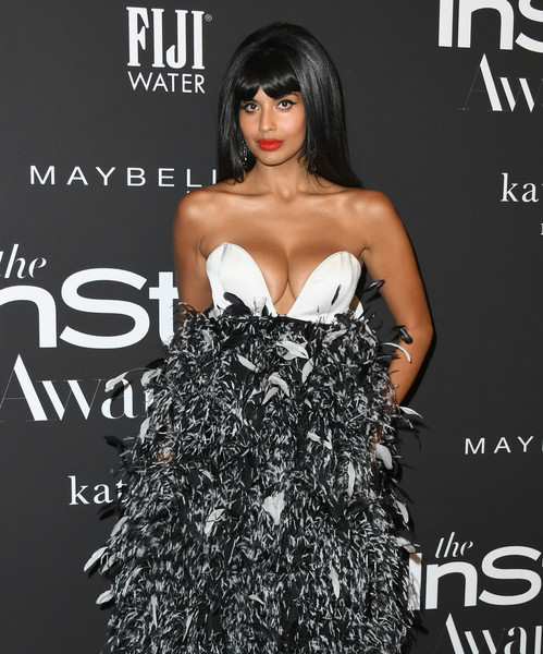 More Pics of Jameela Jamil Retro Hairstyle (3 of 10) - Jameela Jamil Lookbook - StyleBistro [dress,clothing,fashion,hairstyle,strapless dress,fashion model,black hair,premiere,long hair,cocktail dress,arrivals,jameela jamil,instyle awards,the getty center,los angeles,california]