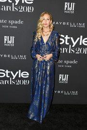 Rachel Zoe was boho-chic, as always, in a navy and gold maxi dress from her label at the 2019 InStyle Awards.