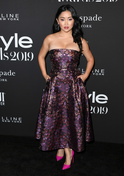 More Pics of Lana Condor Strapless Dress (1 of 14) - Lana Condor Lookbook - StyleBistro [dress,clothing,shoulder,strapless dress,fashion model,cocktail dress,gown,purple,a-line,fashion,arrivals,lana condor,instyle awards,the getty center,los angeles,california]