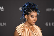Amandla Stenberg rocked a blue-dyed box braid updo at the 2019 LACMA Art + Film Gala.