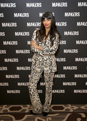 Jameela Jamil rocked an animal-print pantsuit by Roberto Cavalli at the 2019 MAKERS Conference.