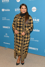 Mindy Kaling went matchy-matchy with this tan plaid coat and dress combo at the Sundance Film Festival premiere of 'Late Night.'