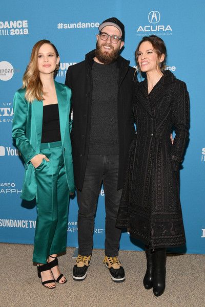 More Pics of Hilary Swank Trenchcoat (1 of 18) - Outerwear Lookbook - StyleBistro [i am mother,premiere,event,fashion design,outerwear,carpet,suit,grant sputore,clara rugaard,hilary swank,eccles center theatre,utah,park city,sundance film festival,premiere]