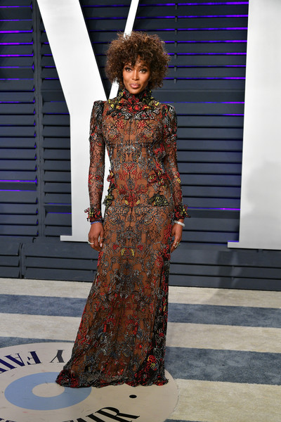 Naomi Campbell rocked an embroidered illusion gown by Alexander McQueen at the 2019 Vanity Fair Oscar party.
