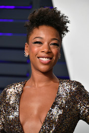 Samira Wiley rocked a messy fauxhawk at the 2019 Vanity Fair Oscar party.