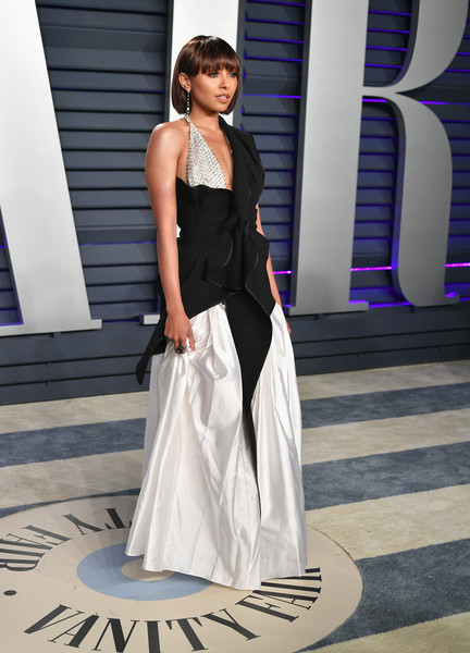 Kat Graham went the modern route in an asymmetrical mixed-material gown by Toni Maticevski at the 2019 Vanity Fair Oscar party.