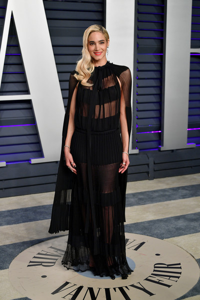 Sofia Boutella looked sultry in a sheer black gown by L'Atelier Sonia Rykiel at the 2019 Vanity Fair Oscar party.