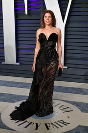 Marisa Tomei ravished in a sheer strapless black gown by Ralph & Russo Couture at the 2019 Vanity Fair Oscar party.