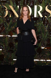 Stella McCartney went boho in a tiered black maxi dress at the 2019 WWD Honors.