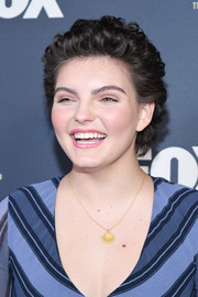 Camren Bicondova kept it short and sweet with this curly 'do at the 2019 Winter TCA Tour.