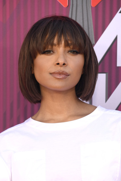 Kat Graham looked cute with her bob and eye-grazing bangs at the 2019 iHeartRadio Music Awards.