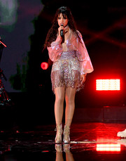 Camila Cabello sparkled onstage in a beaded mini dress by Celia Kritharioti Couture at the 2019 iHeartRadio Music Festival.