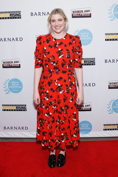 Greta Gerwig teamed her frock with black patent loafers.