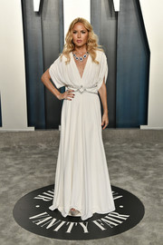 Rachel Zoe looked chic in a draped white gown at the 2020 Vanity Fair Oscar party.