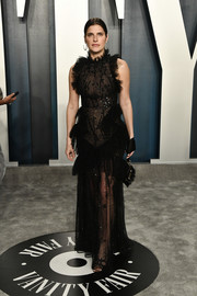 Lake Bell looked goth-glam in a beaded and ruffled black gown by Zuhair Murad at the 2020 Vanity Fair Oscar party.