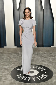 Katharine McPhee cut a shapely figure in a fitted gray Christian Siriano gown with a side cutout at the 2020 Vanity Fair Oscar party.