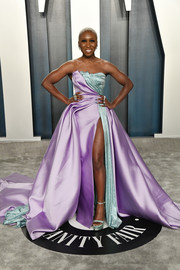 Cynthia Erivo coordinated her look with a pair of mint-green platforms by Versace.