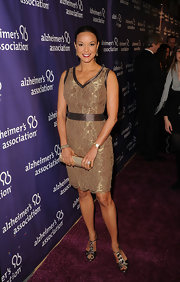 Eva la Rue wore this gold-webbed dress on the Alzheimer's Association 'A Night at Sardi's' red carpet.