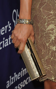 Eva la Rue topped off her glowing ensemble at the Night at Sardi's event with a diamond-encrusted bangle bracelet.