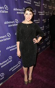 Mayim Bialik glittered in this black knit dress on the Alzheimer's Association 'A Night at Sardi's' red carpet.