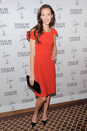 Olivia Chantecaille wore this lovely bowed frock in a rich hue to the Christian Louboutin celebration.