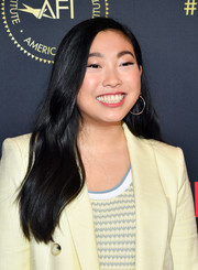 Awkwafina went for classic styling with a pair of gold hoops.