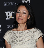 Ann Curry complemented her elegant brocade dress with a basic flip hairstyle during the Broadcasting and Cable Hall of Fame Awards.