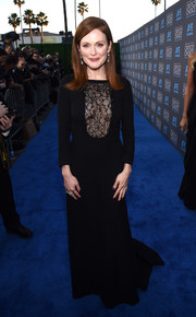 Julianne Moore chose a simple black gown with a lace panel bodice for the Critics' Choice Movie Awards.