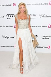 Camille Grammer wore this lacy white gown to the Elton John Oscar viewing party.