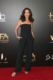 Andie MacDowell kept it minimal in a strapless black jumpsuit at the Hollywood Film Awards.