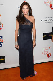 Lisa Vanderpump wore a navy lace gown for a super classic and elegant look on the red carpet.