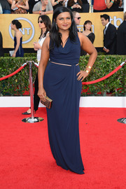 Mindy Kaling chose a sleeveless blue cowl-neck gown by David Meister for the SAG Awards.