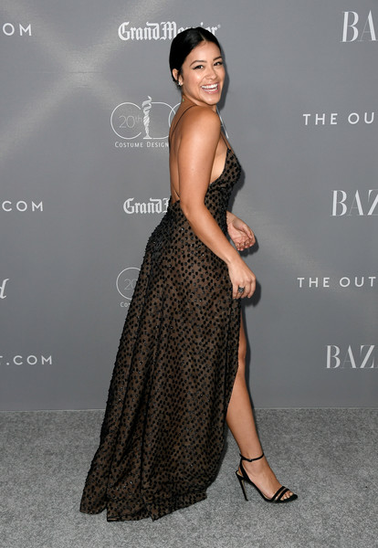 More Pics of Gina Rodriguez Strappy Sandals (1 of 12) - Gina Rodriguez Lookbook - StyleBistro [dress,clothing,shoulder,fashion model,hairstyle,premiere,fashion,gown,long hair,joint,arrivals,gina rodriguez,costume designers guild awards,beverly hills,california,the beverly hilton hotel,cdga]