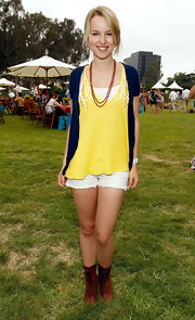 Bridgit Mendler completed her summery look with white cutoffs.