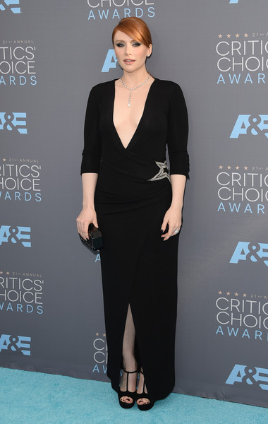 Bryce Dallas Howard completed her look with vintage-chic T-strap platform sandals by Miu Miu.