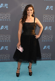 America Ferrera's pink box clutch and ruffle LBD were an adorable pairing!