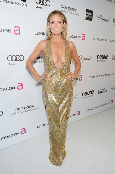 Heidi Klum Wore Julien MacDonald at Elton John's 2013 Oscars Party
