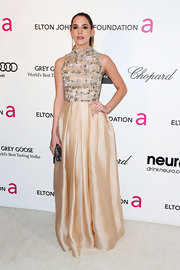 Christa B. Allen showed her very mature style at Elton John's Oscar party with a nude colored gown with silver embellishments on the bodice.