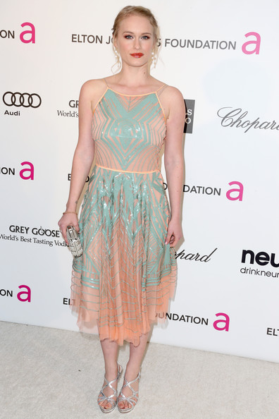 Leven Rambin chose a pastel frock for her Oscar night look with this peach and sea foam cocktail dress.