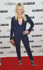 Funny girl, Chelsea Handler, took home an award at the Glamour Awards in a navy jumpsuit.