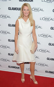 Sandra Lee was chic in white at the Glamour Women of the Year Awards in NYC. Sandra paired her look with satin blush peep-toe d'orsay pumps.