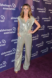 Sparkly jumpsuits aren't always the easiest to pull off, but Keltie Colleen rocks this Disco-inspired number.