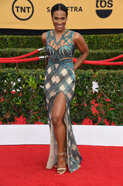 Vicky Jeudy looked peppy and chic at the SAG Awards in a mixed-pattern, sequined gown by Charbel Zoe Couture.